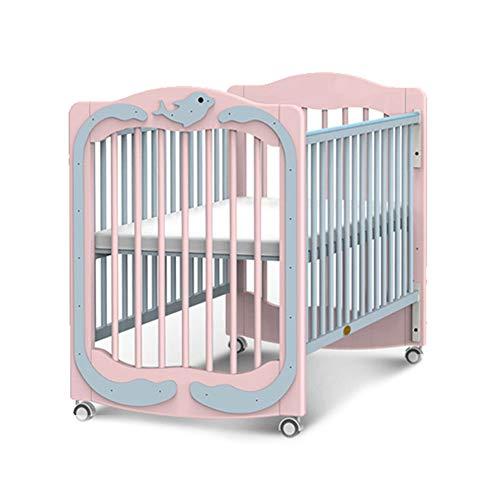 WDXIN Babybett Kinderbett Gitterbett Hochwertige Umweltschutzbeschichtung Multifunktional Gleitgeländer Importierte Kiefer Geeignet für 0-6 Jahre altes Baby,Pink -