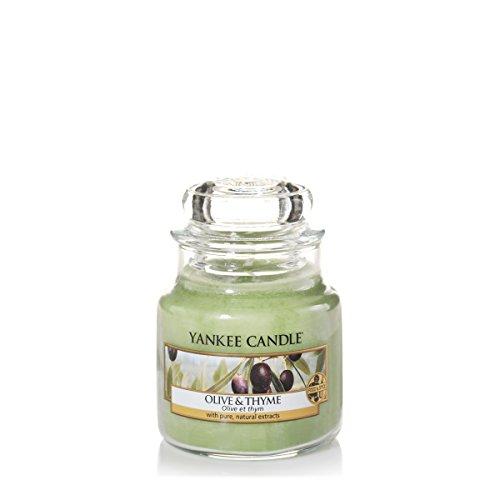 Yankee Candle 1507724E - 104 g Oliva y tomillo Vela en jarra pequeña, Vidrio, Color Verde, 6.2x6x7.1 cm