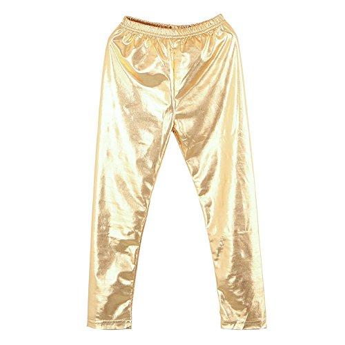 BOBORA Mädchen Strumpfhosen Leggings Glänzend Metallische Farbe Dehnbar Tanz Hosen