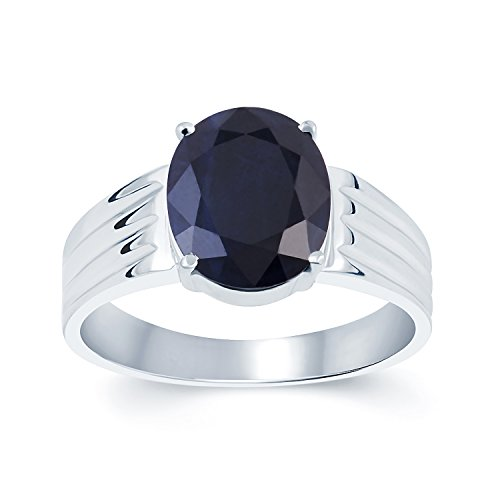 G-Luck Certified Natural Blue Sapphire Neelam 92.5 Sterling Silver Gemstone Ring For Men