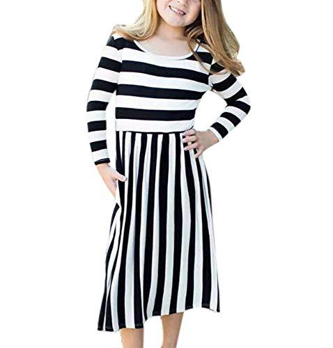 Famesale Baby Mädchen Kleid Striped Kleid Lady Mini Kleid Gestreiftes Kleid Mama Baby Kleid Kind110cm