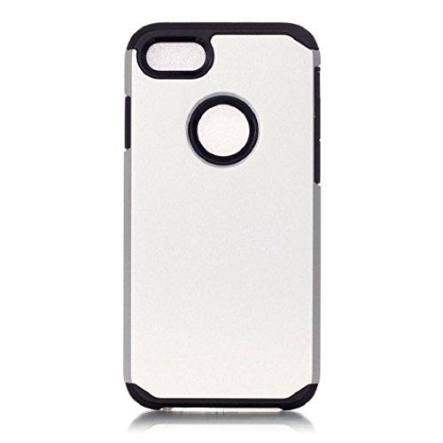 Koly De alta calidad PC + TPU caso de la cubierta de piel para el iPhone 7 de 4.7 pulgadas,plata