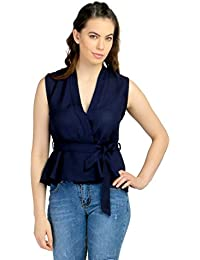 Remanika Dark Blue color Knitted Polyester fabric Sleeveless Top for womens