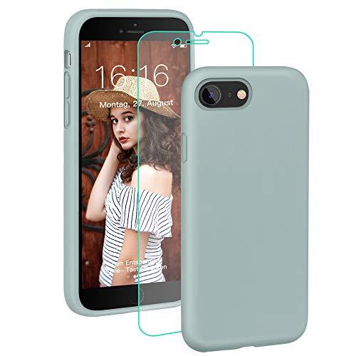 ProBien Hülle für iPhone 7 / iPhone 8, Silikon Handyhülle mit Kostenlos Panzerglas,Schutz vor Stoßfest/Kratzfest Schutzhülle Bumper Case Cover für iPhone 7 / iPhone 8-Mint