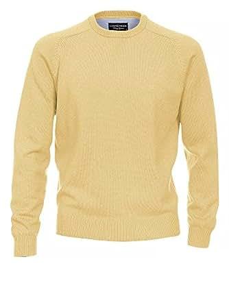 CASAMODA Herren Strickpullover 004260 100% Baumwolle - auch große Größen Rundhals gelb 58/3XL