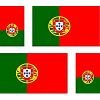 Akacha 4 x Portugal Flag Stickers for Car, Motorcycle, Suitcase, Laptop