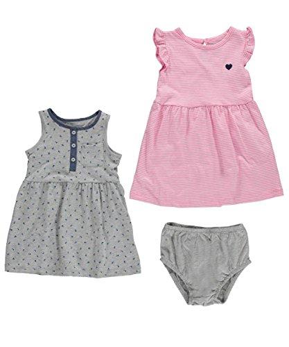 Carter's Babykleid + Spieler Sommer Mädchen 2 Stück Kleid girl dress Mädchen (3 Monate, grau/rosa) (Stück 3 Carters Rosa)