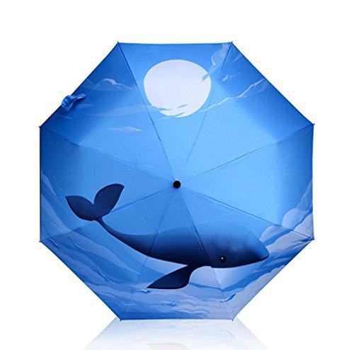 GKRY kompakt, leicht, klein, / faltbarer/ Sonnenschirm/ wasserdichter UV-Schutz/ Bester winddichter ReiseRegenschirm für Damen + Herren Tri - sonnig Sonnenschirm Sonnenschutz Ocean Whale Dach falten (Ocean Sonnenschutz)