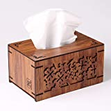 Hyvaluable Holz Tissue Holders Tissue Box, Kreatives Zuhause Wohnzimmer Toilettenpapier Tablett Fernbedienung Aufbewahrungsbox Tissue Box Dispenser [Birne Holz Doppelschicht]