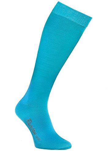 Rainbow Socks 1 Paar Bunte KNIESTRÜMPFE Gekämmte BAUMWOLLE, Modern Lange Socken MULTIPACK für Jeden Tag, Bequem und Fein|TÜRKIS, EU Größen 36-38, Made in EUROPA