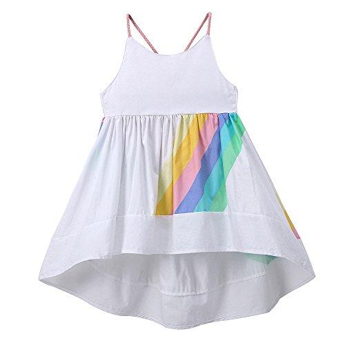 Elegant RüCkenfrei Vokuhila Strand Party Kleiden Baby Baumwolle Patchwork Regenbogen Streifen Drucken Sling Hochzeit Süß Kleiden(Weiß,90) ()