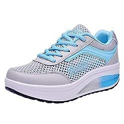 Fenverk Damen Abnehmen Walkingschuhe & Turnschuhe Fitness Keile Plattform Schuhe Sneakers Chic Plateau Schnürer Sneakers Walkmaxx Schuhe Shape-up Fitnessschuhe (Blau,41 EU)