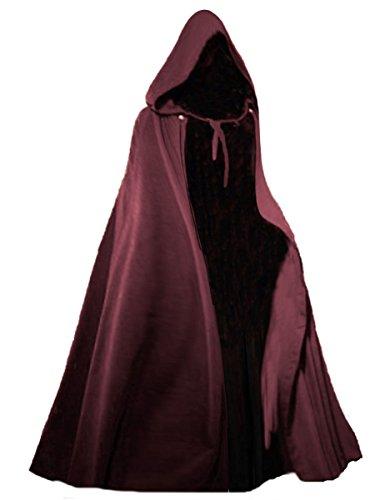 Kostüm Mantel Rotes Piraten - Dark Dreams Gothic Mittelalter LARP Langer Kapuzenumhang Cape Unisex Sinistra, Farbe:rot, Größe:freesize