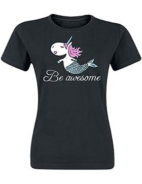 Unicornio Be Awesome Camiseta Mujer Negro