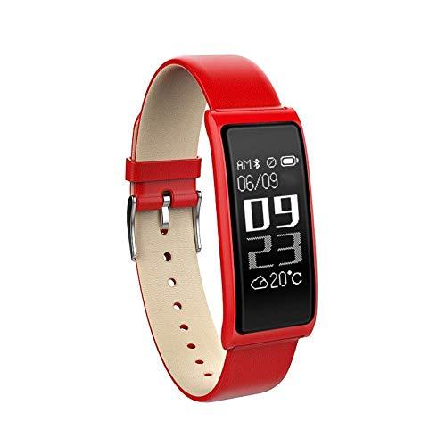 XHMCDZ Fitness-Tracker, Aktivitäts-Tracker-Uhr mit Pulsmesser, IP67-Wasserfestes Smart-Armband mit Kalorienzähler-Pedometer-Uhr für Android und iOS (Farbe : Red)