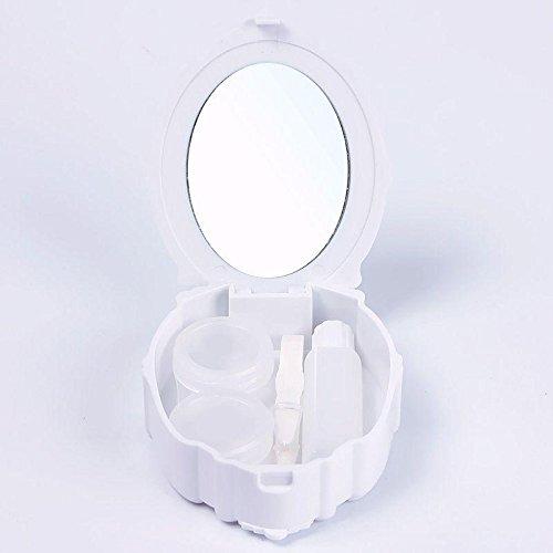 janedream Reise Süße Kontaktlinsen Behälter Aufbewahrungsbehälter Linsenbehälter mit Spiegel weiß (Linsenbehälter Spiegel)