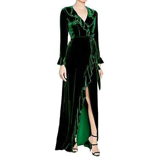 YCQUE Frauen Damen Mode Sexy Langarm Winter Lose Beiläufige Gold Velvet Split Ruffle Tiefem V-Ausschnitt Solide Lange Abendkleid Party Cocktail
