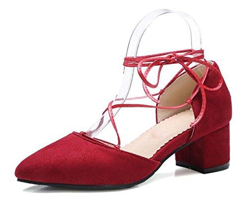 Rosso Aisun In Nubuck Elegante Caviglia Lacci Alla Donna Cinghia Scarpe wBw6Z