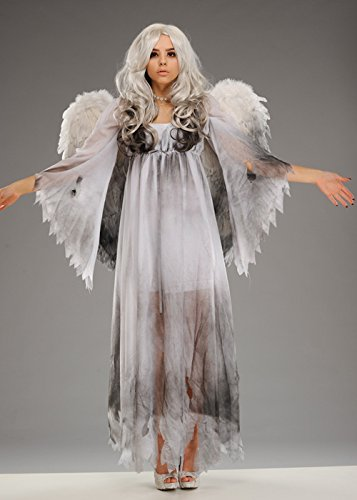 Womens Halloween Gothic Fallen Angel Kostüm S/M (UK 8-10) (Fallen Angels Fancy Dress Kostüme)