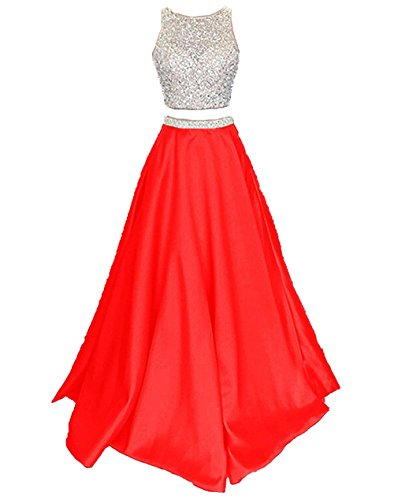 Callmelady Satin Zwei Stück Ballkleider Lang Abendkleider Damen Abiballkleider (Rot, EU30)