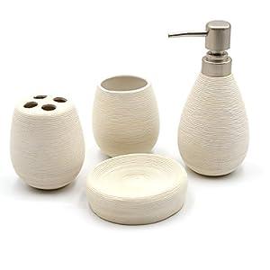 CDKJ 4 Pieza Moderna Accesorios de baño Conjunto de cerámica jabón masajeador jabonera Titular de Cepillo de Dientes…