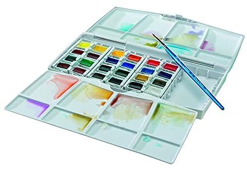 Winsor & Newton Cotman Boîte d'aquarelle Peinture fine avec 24 1/2 Godets/Pinceau