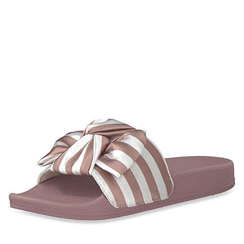 Mauve Damen 27505 Stripes Mehrfarbig Tamaris Pantoletten U7TqOwRgR