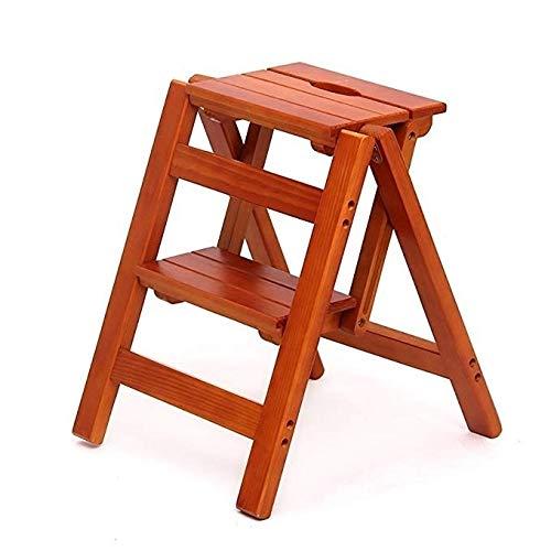 HEMFV Leichte Leiter 2 Schritt Hocker Massivholz bewegliche Falte Haushalt Multifunktions-Stufenleiter Stable Bein halten Fußboden reinigen