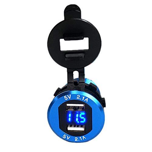 Preisvergleich Produktbild Meipire 4.2A Dual USB Ladebuchse Wasserdichte Auto Steckdose 5V2.1A & 2.1A mit LED Voltmeter für 12 V / 24 V Auto Boote Marine Motorrad Lkw SUV UTV RV usw (Blau)