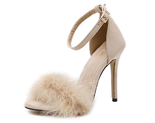 YCMDM Femmes Plumes Talons hauts Chaussures Sandales Chaussures romaines Apricot Vin Rouge Rose Noir 39 36 35 38 37 40 apricot