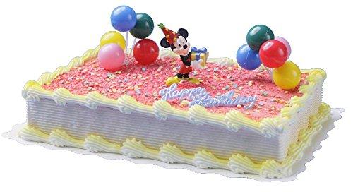 Cake Company hochwertige Torten-Figur 'Mickey Mouse' von Bullyland mit Happy Birthday Schriftzug | Plastik-Figur mit 2 Ballontrauben & essbaren Zucker-Konfetti für Torten-Deko | ideal für Motiv-Torten