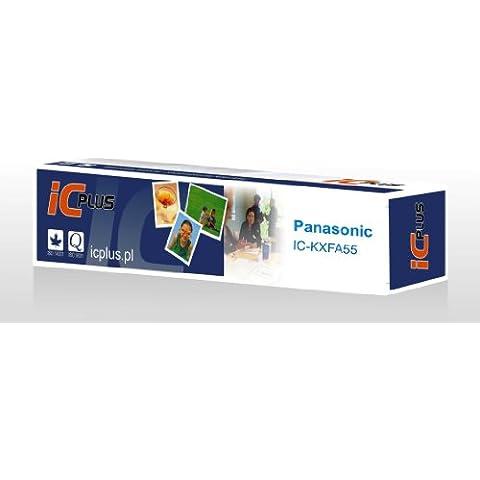 4printer ICplus IC-PKXFA55X1 - Rotolo di pellicola a trasferimento termico, per fax Panasonic KX-FP81, KX-FP85, KX-FP151, KX-FP155, KX-FP181, KX-FP185, KX-FP189, KX-FC195, KX-FC195E, KX-FP195, equivalente a Panasonic KX-FA55X, 2 confezioni, colore: nero