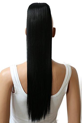 PRETTYSHOP 60cm Haarteil Zopf Pferdeschwanz glatt Haarverlängerung hitzebeständig wie Echthaar schwarz #1 H601