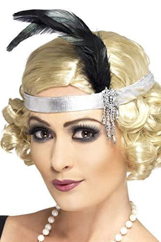 Smiffys Damen Charleston Satin Stirnband mit Feder und -