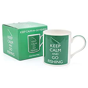 Lesser & Pavey Premium Keep Calm and Go Fishing Funny Tea and Coffee Mug - Perfect Ceramic China Cup for Fishing Fans