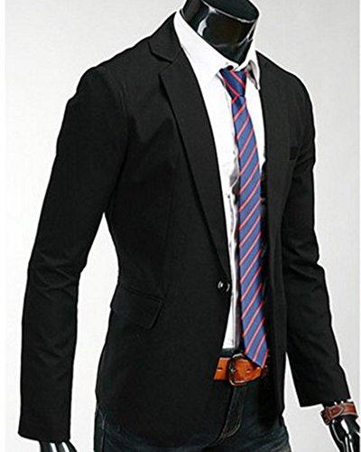 Uomo Casual Giacca Blazer Un Bottoni Elegante Vestito di Casual Cappotto Jacket Nero