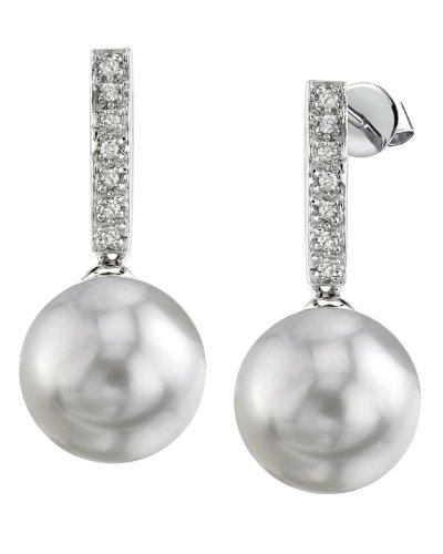 Weiße 9 mm Süßwasserperle Diamant Baumelnde Ohrringe 14 K Gold (Weiß-diamant-ohrringe 14k)