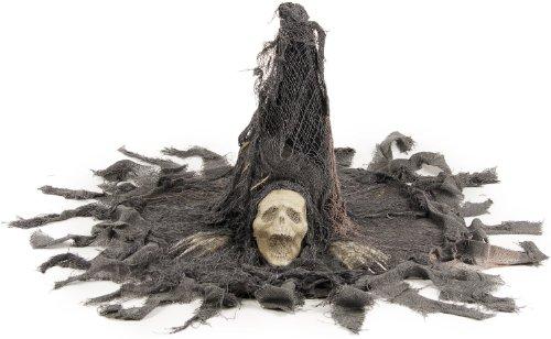 Grusel Skelett Hexen Hut mit Fetzen und Skull!