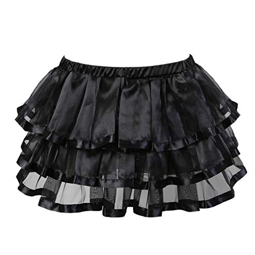 Rosfajiama Womens Multi Layered Overskirt Renaissance Skirt Outfits Plus Size Victorian Steampunk Tutu Skirt 6X-Large Black