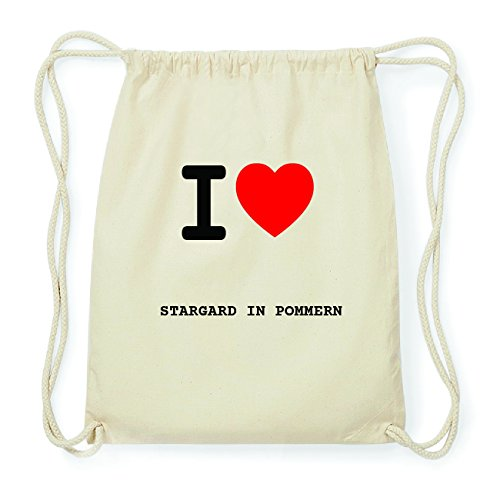 JOllify STARGARD IN POMMERN Hipster Turnbeutel Tasche Rucksack aus Baumwolle - Farbe: Natur - Design: I Love- Ich Liebe - Farbe: Natur -