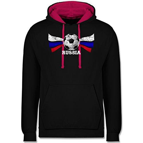 Fußball-WM 2018 - Russland - Russia Fußball Vintage - Kontrast Hoodie Schwarz/Fuchsia