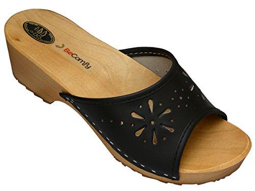 BeComfy Damen Clogs Holzschuhe Leder Holz Pantoletten mit Absatz Sandalen Bunte Farben Modell VK10 Schwarz