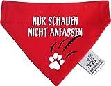 KLEINER FRATZ Hunde Durchzugstuch (Fb: Rot-Fuchsia/Rot) (Gr.S - 16 x 11 cm) Nur Schauen Nicht Anfassen