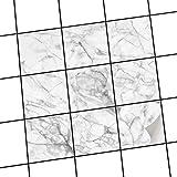creatisto Dekor-Fliesen, Badfliesen | Fliesentattoo Küche Bad ergänzend zu Kühlschrankmagnet Wandtattoo | 20x20 cm Design Motiv Marmor weiß - 9 Stück