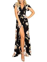 96f6b0fb6f1a WOZNLOYE Donna Vestiti V Collo Maniche Corte Vestito a fiori Spiaggia Abiti  Lunghi con Spacco Laterale