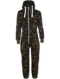 KINDER ARMY MILITÄR CAMO ONESIE ZIP UP ALL IN ONE HOODED JUMPSUIT 7-14 Jahre