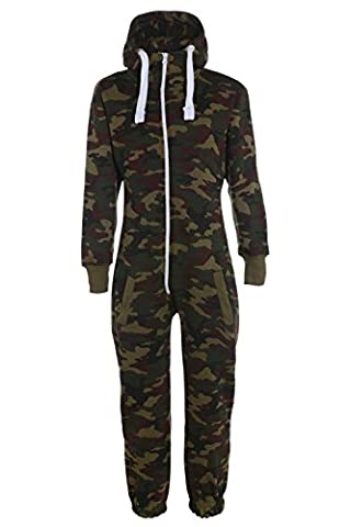 KIDS ARMY CAMO PRINT ONESIE HOODED JUMPSUIT ALL IN ONE