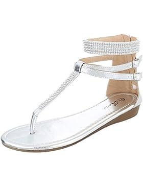 Zehentrenner Damenschuhe Peep-Toe Zehentrenner Reißverschluss Ital-Design Sandalen / Sandaletten