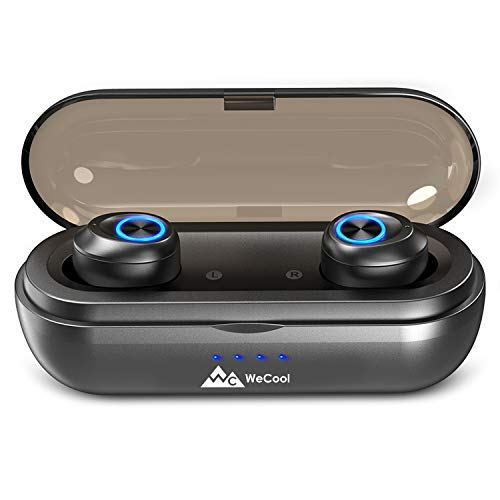 WeCool Moonwalk X TWS Earbuds Wireless Earpods, In ear Wireless Bluetooth Earpods , Wireless Earbuds, True Wireless Earbuds with Charging Box , Earpods Wireless with 50 Hours of Play Time, Bluetooth Earbuds with IPX6 Waterproof , Earbuds Bluetooth 5.0 Sports Earpods Wireless ( Black )