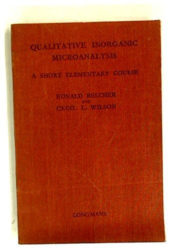 Quantitative Inorganic Microanalysis: A Short Elementary Course